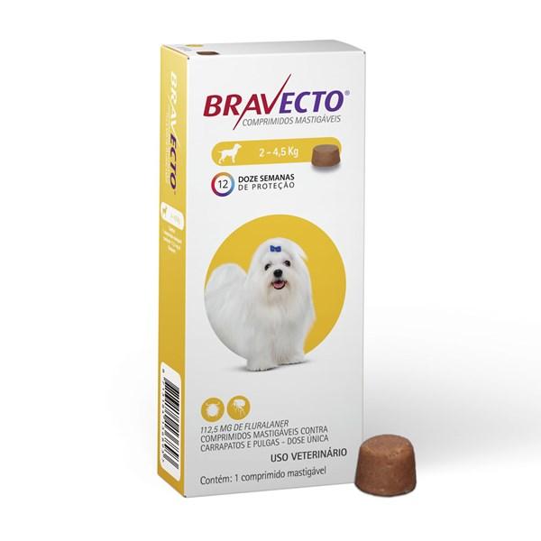 Antipulgas e Carrapatos Bravecto Comprimido de 2Kg até 4,5Kg