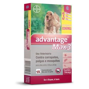 Antipulgas e Carrapatos Combo Advantage Max3 G Cães de 10Kg até 25Kg