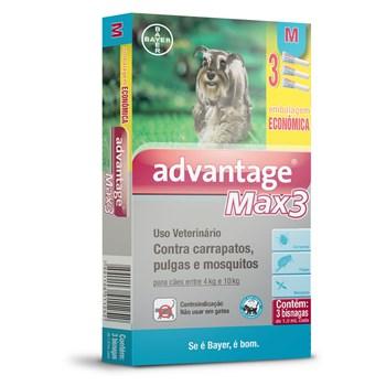 Antipulgas e Carrapatos Combo Advantage Max3 M Cães de 4Kg até 10Kg