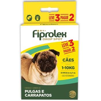 Antipulgas e Carrapatos Combo Fiprolex Drop Spot Cães Até 10Kg