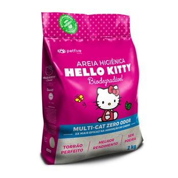Areia Sanitária Hello Kitty Multi-cat Zero Odor Grãos Finos