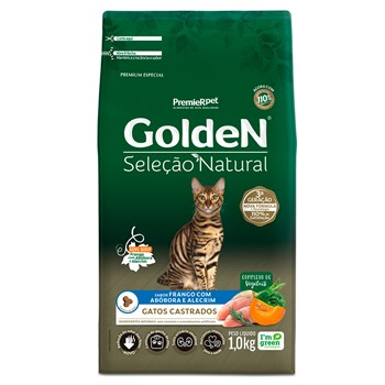 Ração Golden Seleção Natural Gatos Castrados Frango com Abóbora e Alecrim